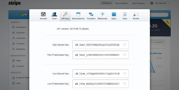 Stripe API keys in your account settings